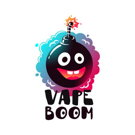 eliquid: Logo Vape Boom. Label, emblem liquid vapors. Illustration