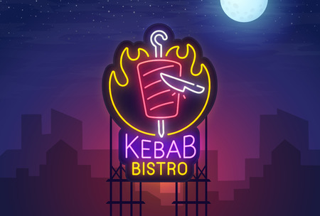 Night city. Sign neon. Kebab Bistro. Bright billboard.