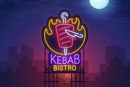 Night city. Sign neon. Kebab Bistro. Bright billboard.