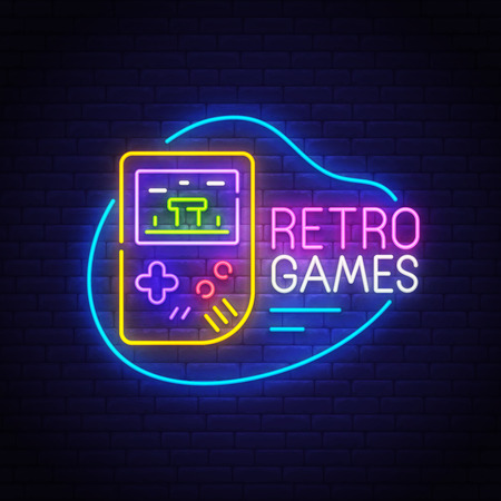 Retro Games neon sign, bright signboard, light banner. Game logo, emblem. Vector illustration