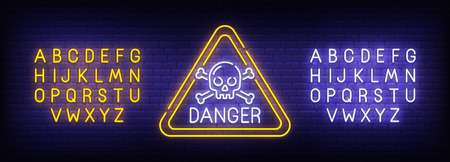 Danger neon sign, bright signboard, light banner. Skull logo. Neon sign creator. Neon text edit. Vector illustration.