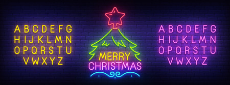Merry Christmas neon sign, bright signboard, light banner. Christmas and Happy New Year logo. Neon sign creator. Neon text edit. Vector illustration