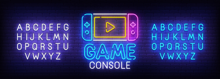 Game console neon sign, bright signboard, light banner. Game logo. Neon sign creator. Neon text edit. Design template. Vector illustration.