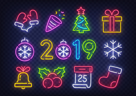 Isolated icon Christmas set. Happy New Year. Set neon icon, label, emblem. Bright signboard, light banner. Vector illustration.
