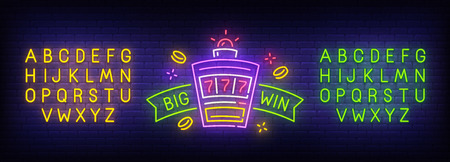 Big Win neon sign, bright signboard, light banner. Casino logo. Neon sign creator. Neon text edit. Design template. Vector illustration.