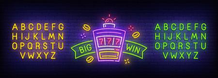 Neon Big Win, jasny szyld, jasny baner. Logo kasyna. Twórca neonu. Edycja tekstu neonowego. Szablon projektu. Ilustracja wektorowa.