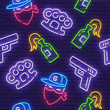 Gangster pattern, bright signboard, light banner. Gangster icon set neon, emblem. Brass knuckles, Pistol and Molotov icon. Vector illustration.