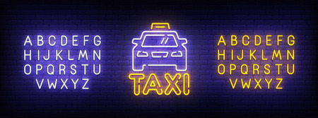 Taxi neon sign, bright signboard, light banner. Taxi logo, emblem and label. Neon sign creator. Neon text edit.