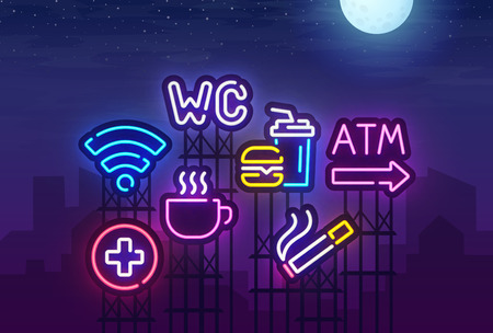 Night city. Sign neon. ATM, Food court, Disabled, Smoking area, Restroom, Wi-fi, Cafe, Hospital neon sign. Bright signboard, light banner. Vector illustration. 矢量图像