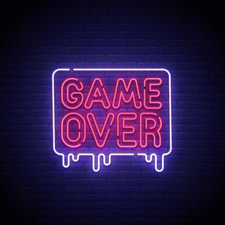 Game popup. Game Over neon sign, bright signboard, light banner. Game Over logo neon, emblem. Vector illustration.