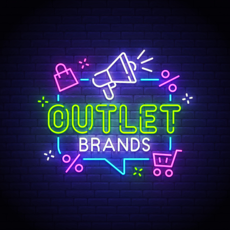 Outlet neon sign, bright signboard, light banner. Outlet logo neon, emblem. Vector illustration. Illusztráció