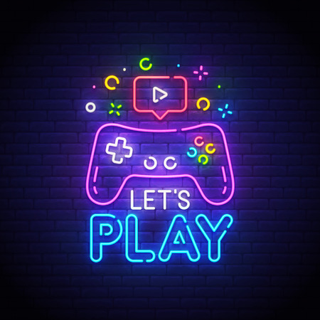 Let's Play neon sign, bright signboard, light banner. Game  logo neon, emblem. Vector illustration.