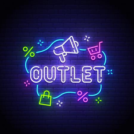 Outlet neon sign, bright signboard, light banner. Outlet logo neon, emblem. Vector illustration. Illusztráció