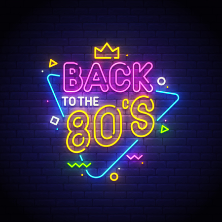 Back to the 80's neon sign, bright signboard, light banner. Vector illustration.