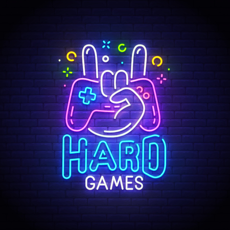 Hard Games neon sign, bright signboard, light banner. Game logo neon, emblem. Vector illustration. Stock Illustratie