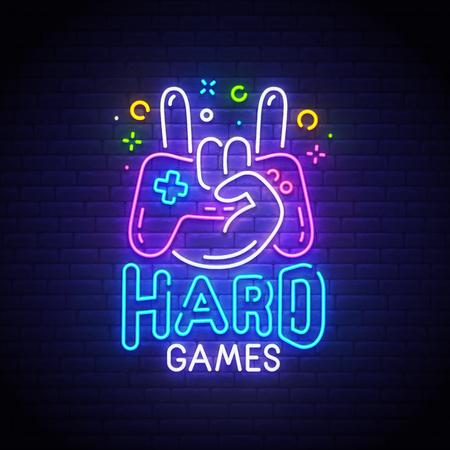 Hard Games neon sign, bright signboard, light banner. Game logo neon, emblem. Vector illustration. Illustration