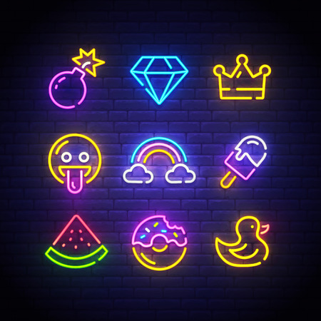 Pop art icons set. Pop art neon sign. Bright signboard, light banner. Neon isolated icon, emblem. Bomb, diamond, crown, smile, rainbow, ice cream, watermelon, donut and rubber duck vector neon icon. Vectores