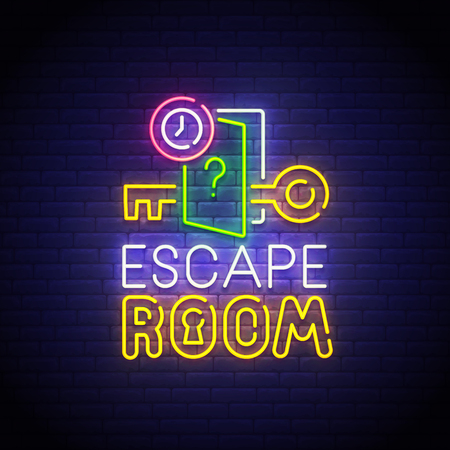 Escape Room neon sign, bright signboard, light banner. Quest Room logo neon, emblem. Vector illustration.