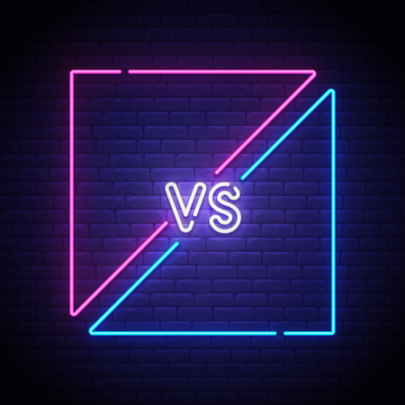 Isolated neon sign. Versus screen. Bright signboard, light banner. Vector illustration