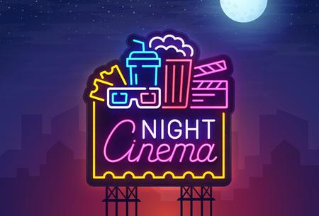 Night city. Sign neon. Cinema billboard. Bright signboard, light banner. Cinema logo. Vector illustration
