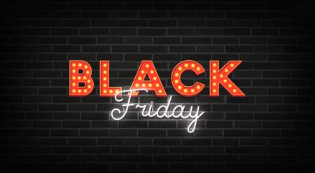 Black Friday neon sign. Web banner, logo, emblem and label. Neon sign, bright signboard, light banner Foto de archivo - 133739152
