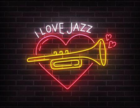 Jazz music neon sign, bright signboard, light banner. I love jazz music logo neon, emblem. Vector illustration Foto de archivo - 133739153