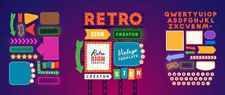 Retro signboard creator. Set elements for street sign. Scene creator, neon sign. Retro font. Advertising space. Foto de archivo - 133739154
