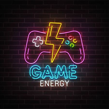 Game neon sign, bright signboard, light banner. Game energy logo neon, emblem. Vector illustration Ilustrace