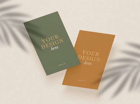 Business cards realistic. Shadow overlay effects. Leaf Shadows. Vector shadow silhouette effect.