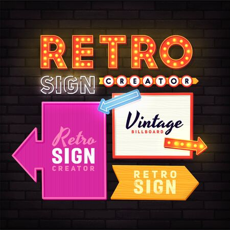 Retro signboard. Set elements for street sign. Neon sign. Advertising space. Foto de archivo - 133739160