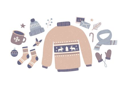 Winter elements. Collection winter clothes and Christmas objects. Woolen sweater, scarf, gloves, socks, hat, cup of coffee, candy, postcard. Isolated vector illustration. Ilustração