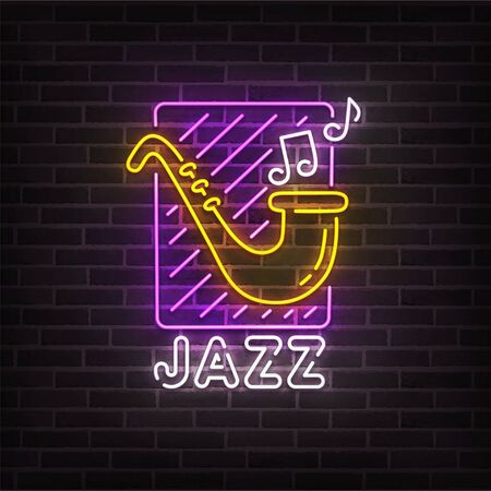 Jazz music neon sign, bright signboard, light banner. Jazz music logo neon, emblem. Vector illustration Foto de archivo - 133739163