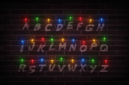 Christmas lights on wall. Light font. Garlands. Vector Illustration  イラスト・ベクター素材