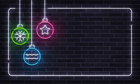 Neon sign of 2020 Christmas and Happy New Year. Christmas balls and frame neon template. Invitation design. Foto de archivo - 133739168
