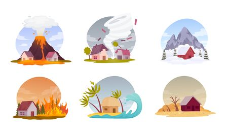 Natural disasters. Collection images with cataclysms volcanic eruption, hurricane, snow avalanche, forest fire, flood and drought. Isolated vector illustration