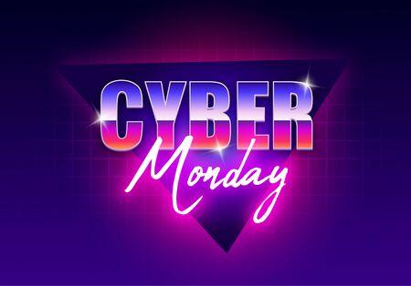 Cyber Monday banner. Retro futuristic cyber Monday. Big discounts neon   light banner design, modern design, bright sign Vector illustration