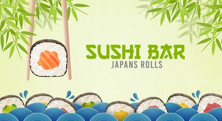 Sushi bar ads. Sushi and rolls poster, horisontal flyer. Realistic vector illustration Foto de archivo - 134544669