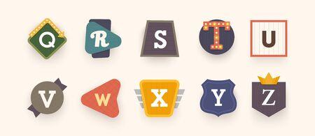 Retro font. Letters on vintage style. Retro signs. Alphabet. Vintage label, emblem.