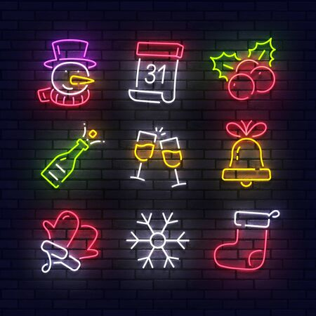 Christmas neon icons. Merry Christmas collection light signs. New Year and Xmas Neon isolated icons, emblem, design template. Sign boards, light banner. Vector Illustration