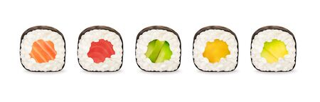 Maki rolls with salmon, tuna, cucumber, avocado and mango isolated on white background. Sushi pieces collection. Fresh maki rolls pieces with rice and nori. Realistic vector illustration. Illustration