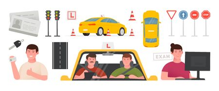 Driving school set illustration. Training car, road safety signs, drivers license, takes an exam. Isolated vector illustration