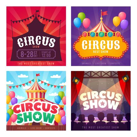 Circus card set. Promotion banners square shape on theme Circus. Design of advertising in social networks. Carnival, show. Vector cartoon illustration