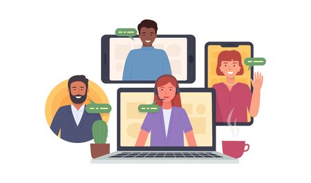 Video conference. Colleagues taking part in video conference in home. Virtual work meeting. Software for online communication. Vector illustration Vettoriali