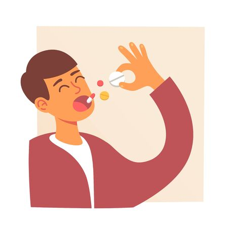 Man takes medicine. Pills in mouth. Man eating Pills. Disease treatment. Drug and vitamins. Vector illustration 向量圖像