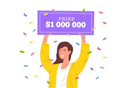 Lucky girl win lottery. Huge money prize in lottery. Happy winner holding bank check for million dollars. Vector illustration Ilustrace