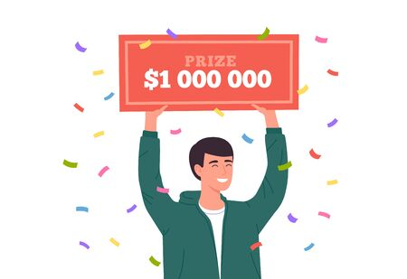 Lucky man win lottery. Huge money prize in lottery. Happy winner holding bank check for million dollars. Vector illustration