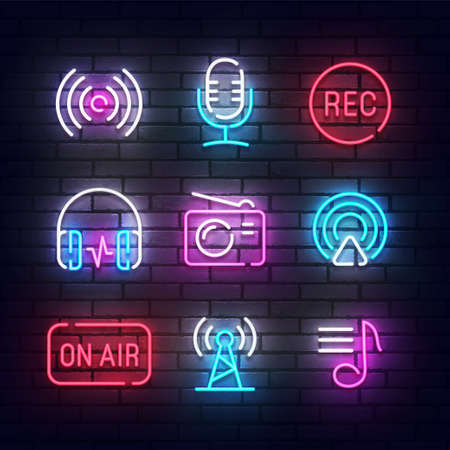 Podcast icon neon. Podcast light signs. Sign boards, line art light banner. Vector Illustration Reklamní fotografie - 151436200