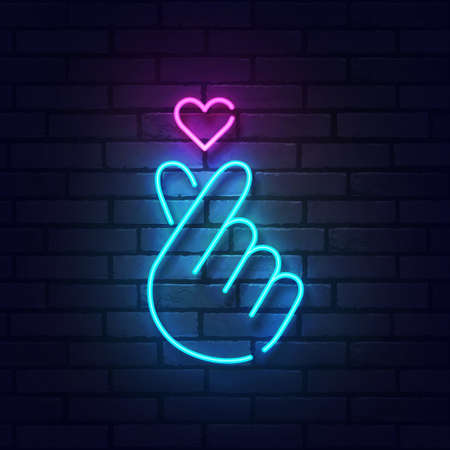 K-POP neon sign. Glowing neon light signboard of dog and cat pet house. Sign of Finger Heart with colorful neon lights isolated on brick wall. Vector illustration