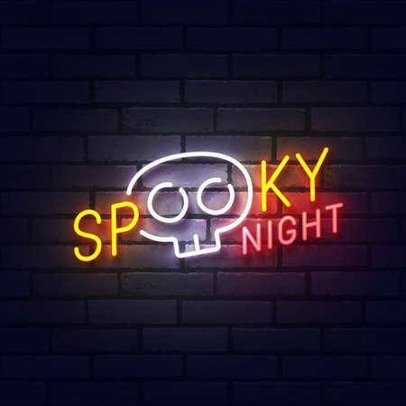 Spooky night neon sign, bright signboard, light banner. Halloween neon, emblem. Vector illustration