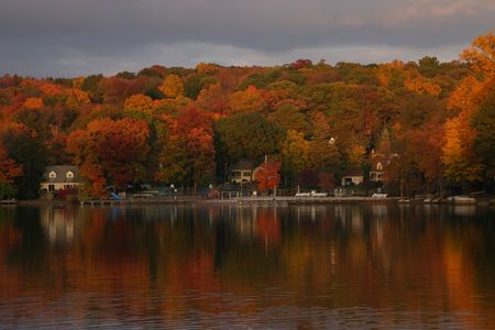 Fall Colors over Water Stock Photo - 2847576
